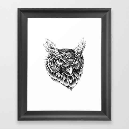 Ornate Owl Head Framed Art Print