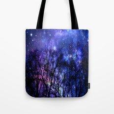 Black Trees purple blue SPACE Tote Bag