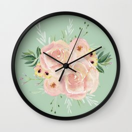 Wild Roses on Pastel Cactus Green Wall Clock