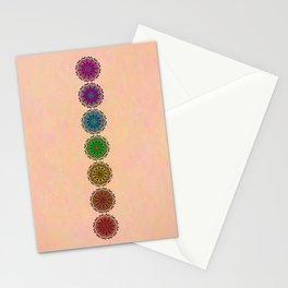 Colorful Rainbow Chakra Mandala , Yoga & Meditation Seven Sacred Mandalas Flower Painting Stationery Cards