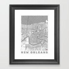 New Orleans Map Line Framed Art Print