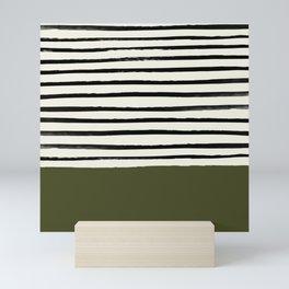 Olive Green x Stripes Mini Art Print
