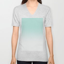 Ombre Duchess Teal and White Smoke Unisex V-Neck