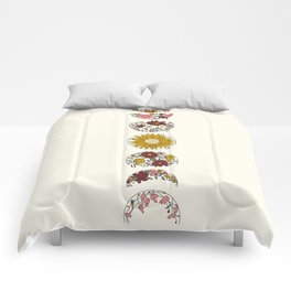 Floral Phases of the Moon Comforters