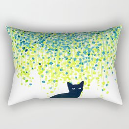 Cat in the garden under willow tree Rectangular Pillow