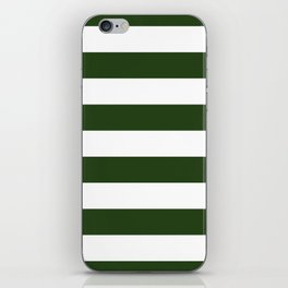 Large Dark Forest Green and White Cabana Tent Stripes iPhone Skin