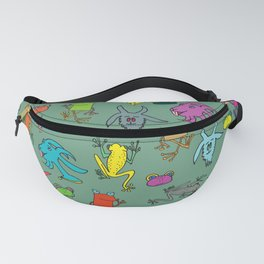 pattern with goats and frogs Fanny Pack