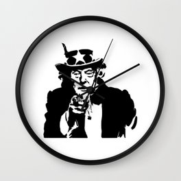 Black and White Uncle Trump Needs You Wall Clock