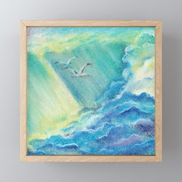 Together forever. Clouds, birds and sun rays. Framed Mini Art Print