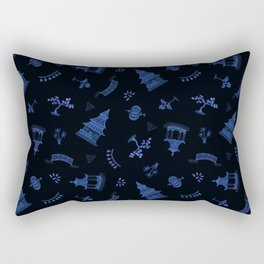 Blue Watercolour Chinoiserie on Black Rectangular Pillow