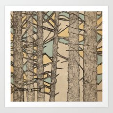 Stained Glass Trees Art Print