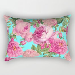 Vintage & Shabby Chic - Summery Rose Flowers Garden Pattern Rectangular Pillow