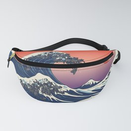 The Great Wave of Black Pug Fanny Pack