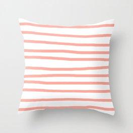 Simply Drawn Stripes Salmon Pink on White Throw Pillow