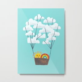 Hot cloud balloon - sun and rainbow Metal Print