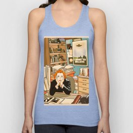 Dana Scully sit to the Fox Mulder's office Unisex Tank Top