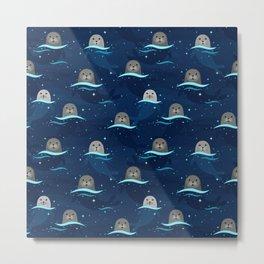 Seals in Glowing Sea Metal Print