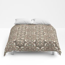 Ornamental Scroll Pattern Earthen Trail, Melon Green, Dover White & Ever Classic Gray Comforters