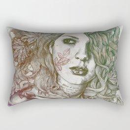 Wake: Autumn (street art woman with maple leaves tattoo) Rectangular Pillow