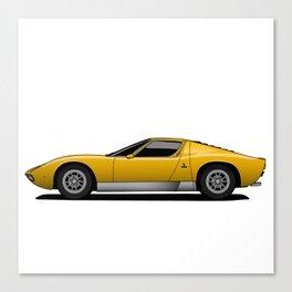 Yellow Sports Car Canvas Print