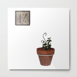 Flowerpot and house number Metal Print