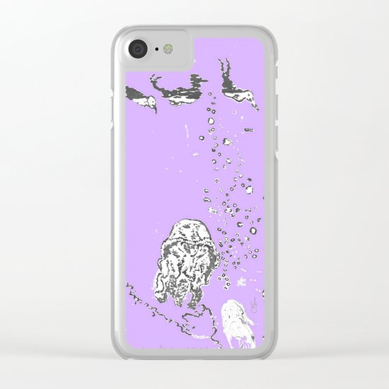 Two Tailed Duck and Jellyfish Purple Grape Clear iPhone Case