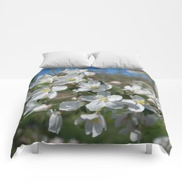 white apple blossoms Comforters