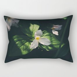 In the shadows the great white trillium blooms Rectangular Pillow