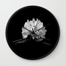 Rhododendron In Black And White Wall Clock