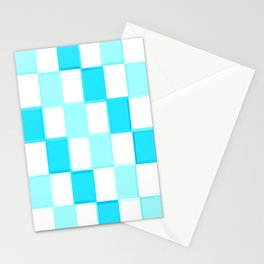 Aqua Turquoise White CheckerboarD Stationery Cards
