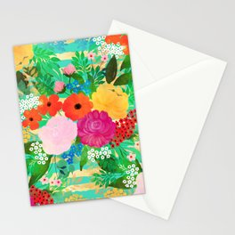 Cute Watercolor Red & Yellow Floral Biscay Green Design Stationery Cards
