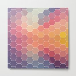 COLORFUL RETRO HEXAGONS HONEYCOMB Metal Print