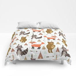 Bohemian orange brown forest animal arrows tribal pattern Comforters