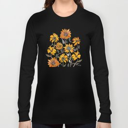 Sunflower Watercolor – Yellow & Black Palette Long Sleeve T-shirt