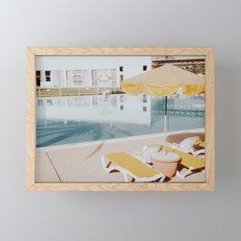 vintage summer poolside Framed Mini Art Print