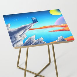 tardis space at starry night Side Table