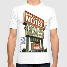American Motel Sign Mens Fitted Tee White MEDIUM
