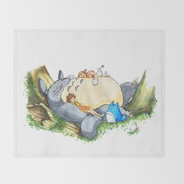 Ghibli forest illustration Throw Blanket