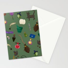 Assorted Witchery Repeating Pattern Green Stationery Cards