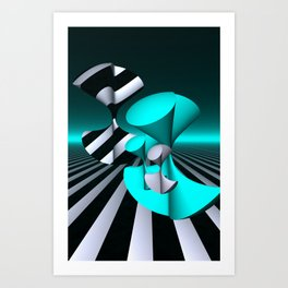 polynomials - turquoise and opart Art Print