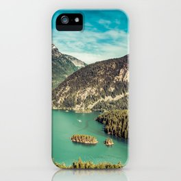 Lake Diablo - Blue and Green Water and Trees iPhone Case