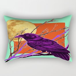 Surreal Purple-green  Mystic Moon Crow/Raven Moon Abstract Rectangular Pillow