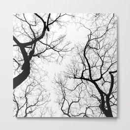 Black and white tree top silhouettes... Metal Print