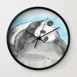 Sleepy Panda Watercolor Wall Clock