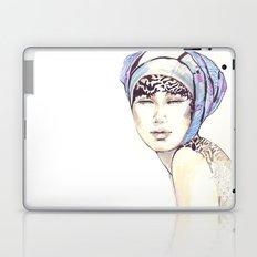 Woman portrait with blue turban Laptop & iPad Skin