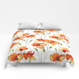 Hand Painted orange yellow watercolor poppies floral Comforters