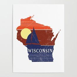 Wisconsin State WI Sailboat Sunset Print Poster