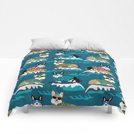Surfing Corgis Dog summer beach hang 10 catch a wave summer dog pattern Comforters