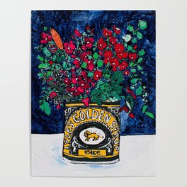 Wild Flowers in Golden Syrup Tin on Blue Poster