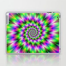 Spiral Rosette in Pink Green and Blue Laptop & iPad Skin